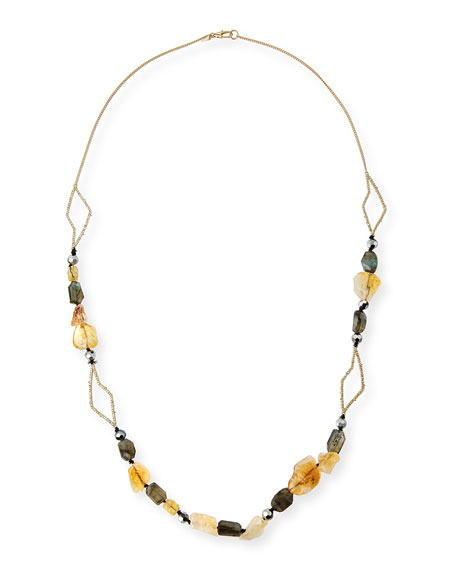 Crystal Layering Necklace, 38""