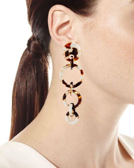 Wind Chime Hoop Drop Earrings, Tortoise
