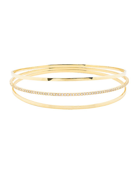 Lana Jewelry Flawless Vol 6 14K Gold Triple Link Bangle Bracelet n81Va905
