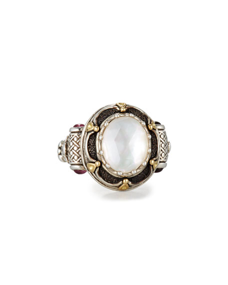 Konstantino Faceted Mother-of-Pearl Ring with Pink Sapphire, Size