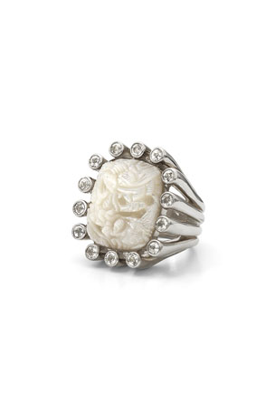 Stephen Dweck Carved Mother-of-Pearl Ring with White Topaz