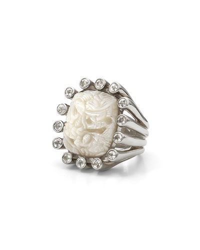 Carved Mother-of-Pearl Ring with White Topaz