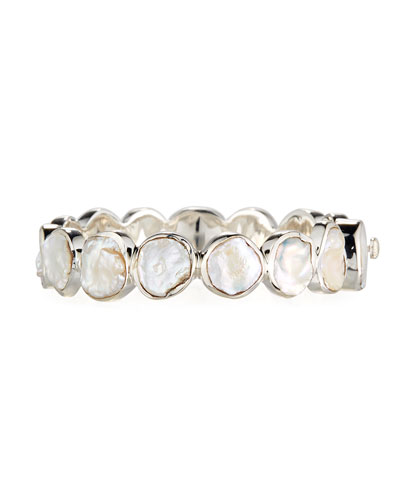 Pearly Station Bangle, White