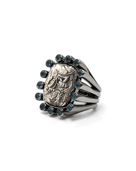 Carved Gray Mother-of-Pearl Ring with Blue Topaz