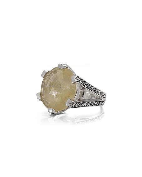 Rutilated Quartz Floral Ring
