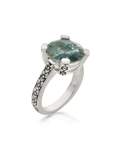 Aqua Quartz Floral Ring