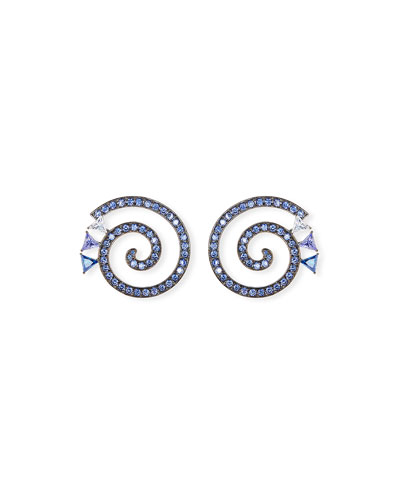 Paradox Spiral Crystal Hoop Earrings