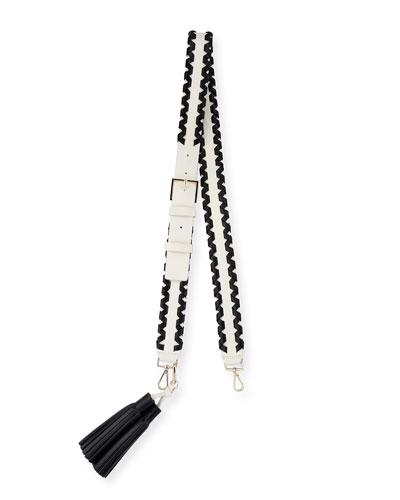 mix it up woven tassel handbag strap, black