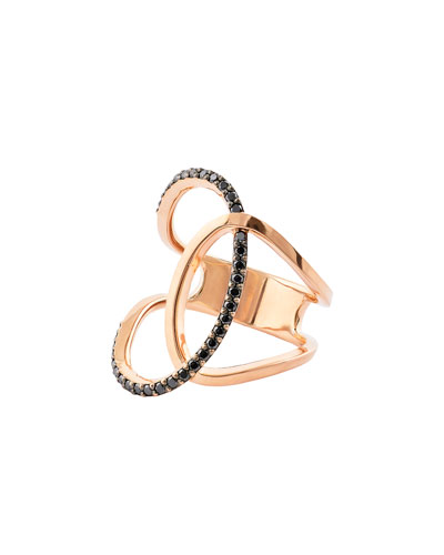 LANA Reckless Vol. 2 14K Rose Gold Illuminating Ring with Black Diamonds, Size 7