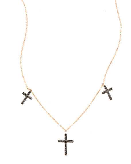 Lana Reckless Vol 2 Triple Cross Black Diamond Necklace in 14K Rose