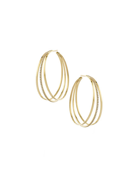 LANA Triple Link Hoop Earrings with Diamonds in