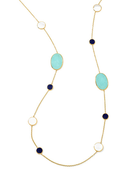 18k Polished Rock Candy Turquoise Station Necklace