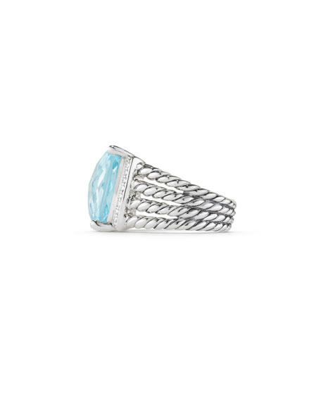 Wheaton Ring with Blue Topaz and Diamonds