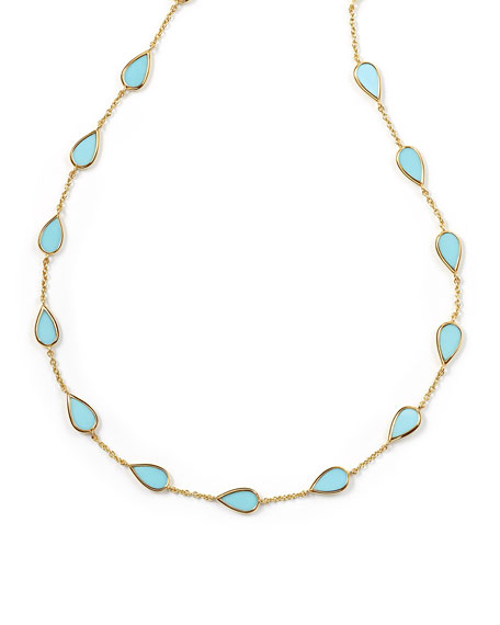 Ippolita 18K Rock Candy Small Turquoise Pear-Station Necklace