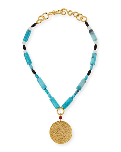 Jingle Beaded Turquoise Pendant Necklace