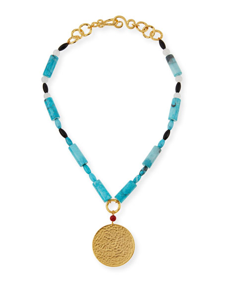 Jingle Beaded Turquoise Pendant Necklace