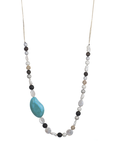 Beaded Liquid Silk Necklace