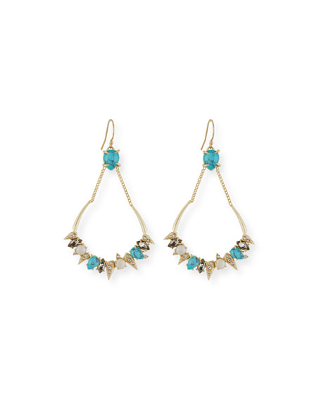 Alexis Bittar Pavé Crystal Chain Top Earrings, Golden/Turquoise