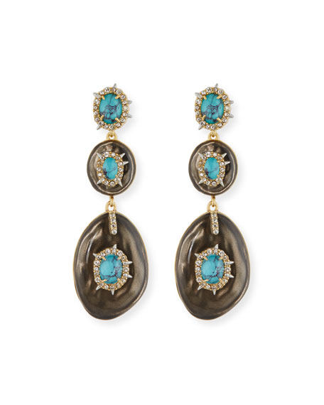 Alexis Bittar Liquid Crystal Three-Drop Earrings, Gray/Turquoise