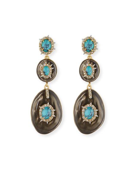 Liquid Crystal Three-Drop Earrings, Gray/Turquoise