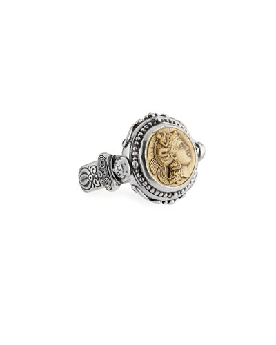Sterling Silver & Bronze Athena Coin Flip Ring