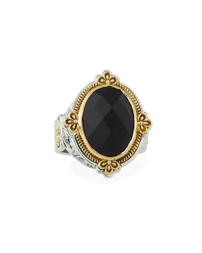 Faceted Black Onyx Oval Ring