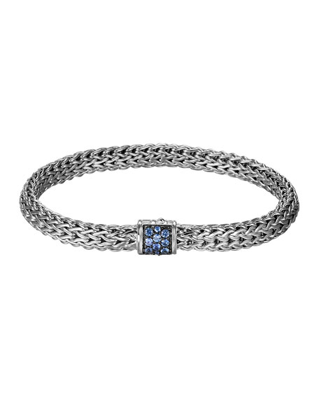 Small Classic Chain Bracelet w/ Pave Blue Sapphire Clasp