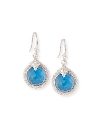 12mm New World Milky Blue Quartz Triplet Round Drop Earrings with Diamonds