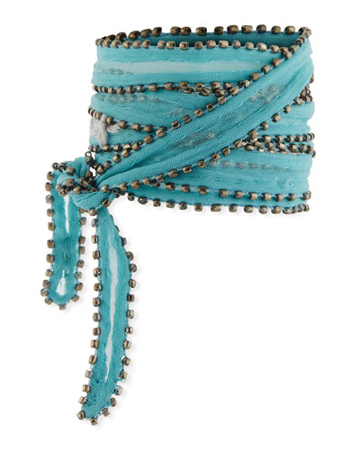 Studded Chiffon Neckerchief, Blue