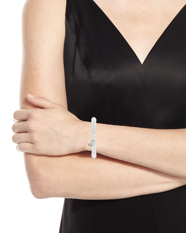 Sydney Evan 8mm Mystic Gray Moonstone Beaded Bracelet with Diamond Starburst Charm E8OK4