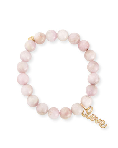 Anniversary Love 8mm Kunzite Beaded Bracelet with Diamonds