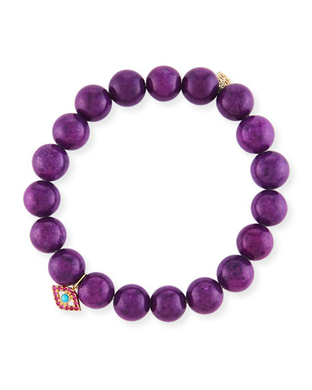 10mm Purple Mountain Jade Beaded Bracelet with Ruby & Turquoise Evil Eye Charm