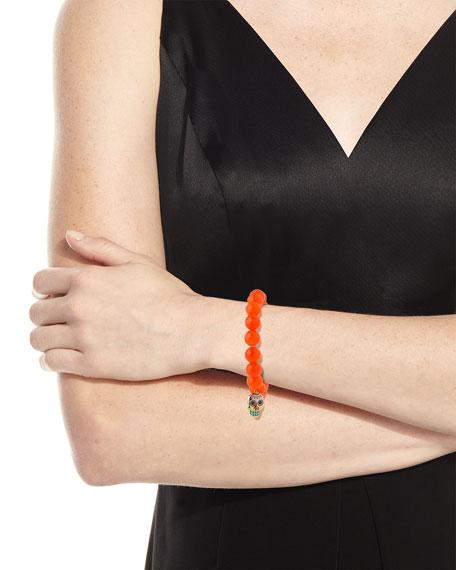 10mm Beaded Orange Agate Bracelet with Sugar Skull Charm
