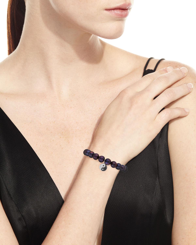Sydney Evan 9mm Black Peacock Pearl Beaded Bracelet with Diamond Yin Yang Charm KUgRWl7Gi