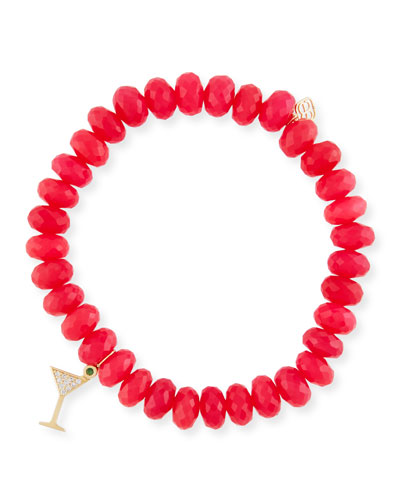 Hot Pink Chalcedony Beaded Bracelet with Diamond Martini Charm