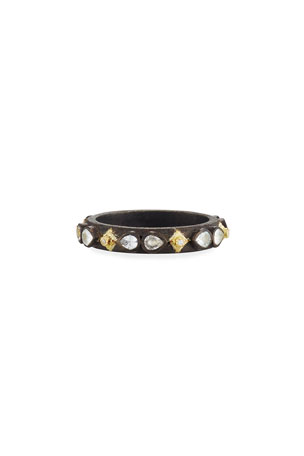 Armenta Old World Midnight Crivelli Stacking Band Ring with Diamonds & Sapphires, Size 6-7.5