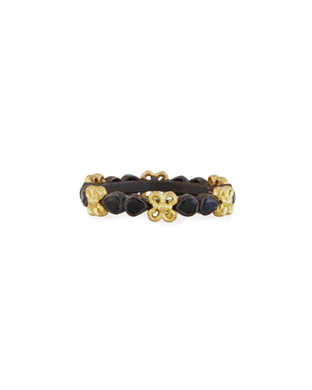18K Yellow Gold And Blackened Sterling Silver Old World Black Sapphire Stacking Ring in Gold/ Black