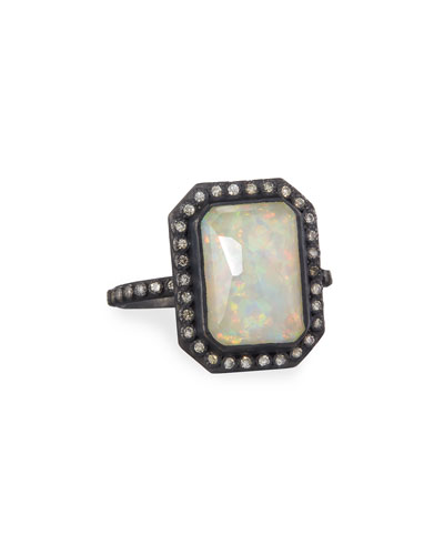 Old World Midnight Opal & Ice Quartz Triplet Ring with Diamonds