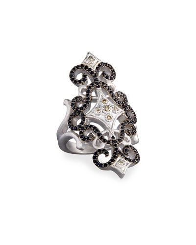 New World Pavé Scroll Ring with Champagne Diamonds & Black Sapphires