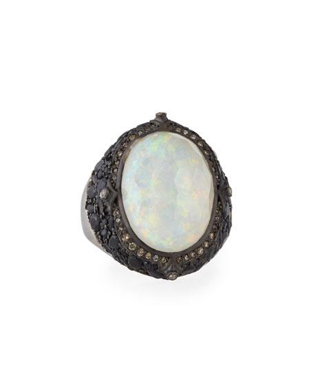Armenta New World Blackened Silver Opal Triplet Ring