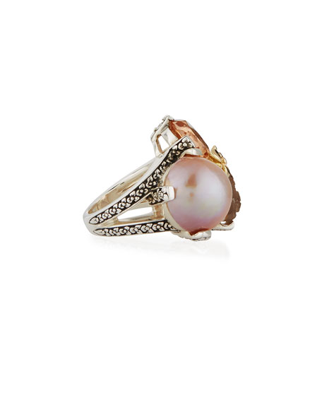 Carved Quartz & Mother-of-Pearl Doublet Three-Stone Ring, Size 7