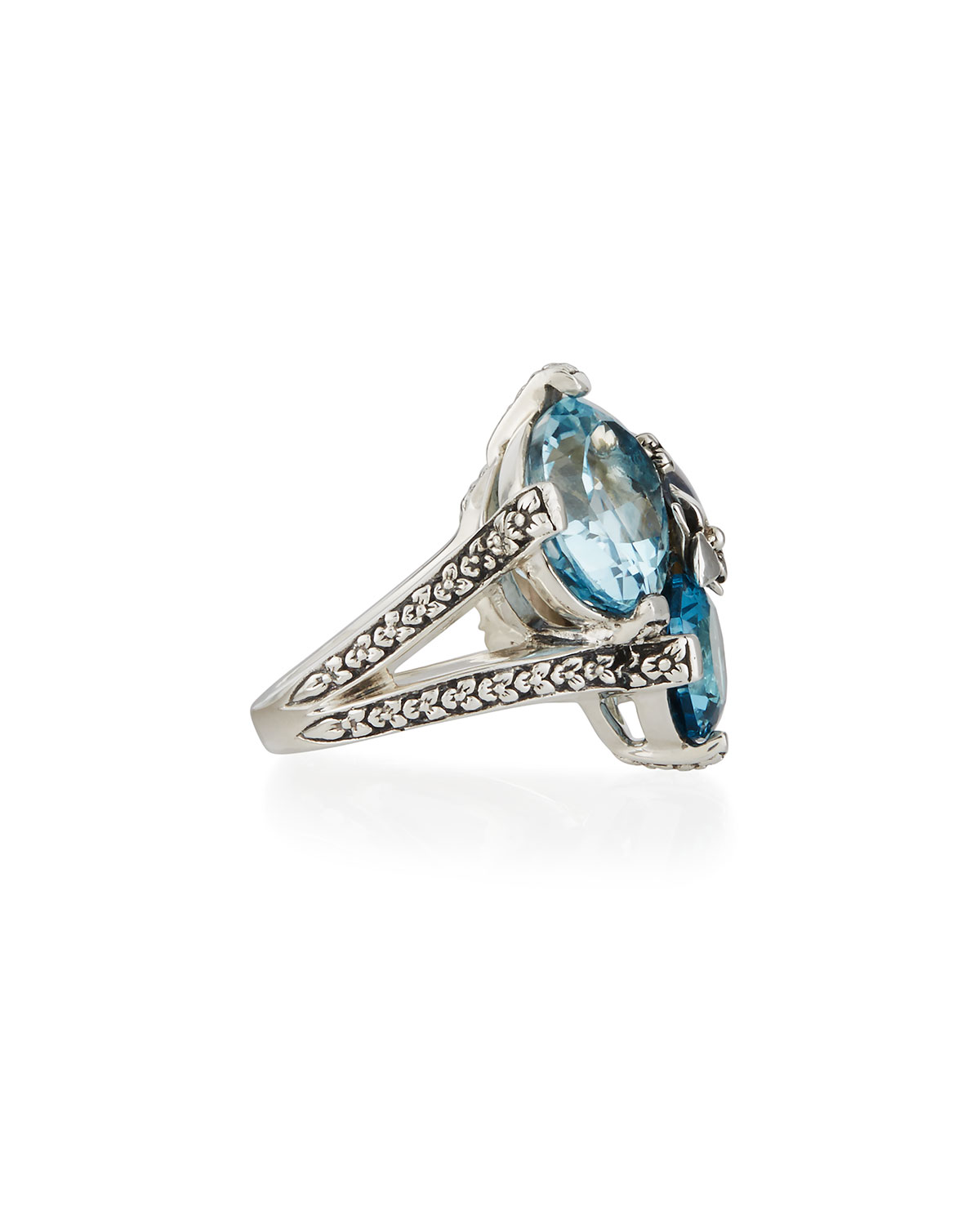 Stephen Dweck Blue Topaz & Mabe Pearl Three-Stone Ring, Size 7