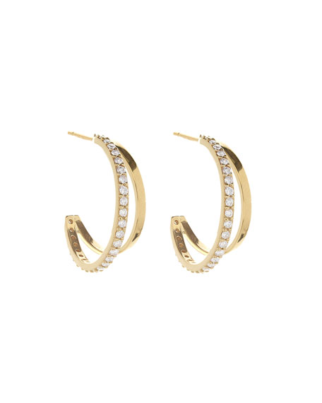 Small Mirage Hoop Earrings with Diamonds