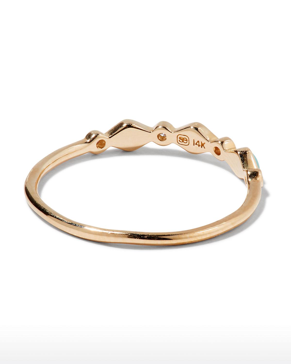 Sydney Evan Turquoise Bezel & Diamond Stacking Ring C7LpLDD2