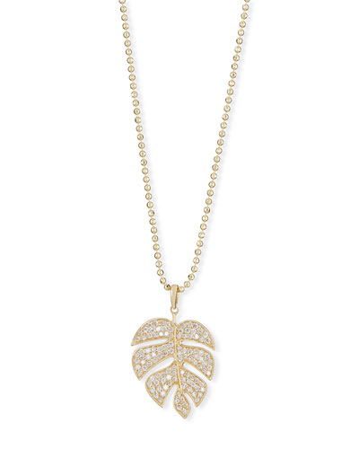 Pavé Diamond Monstera Leaf Necklace