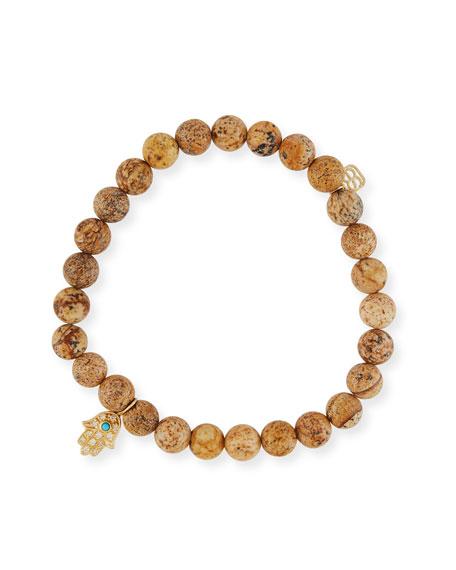 6mm Jasper Beaded Bracelet w/ 14k Diamond Hamsa Charm
