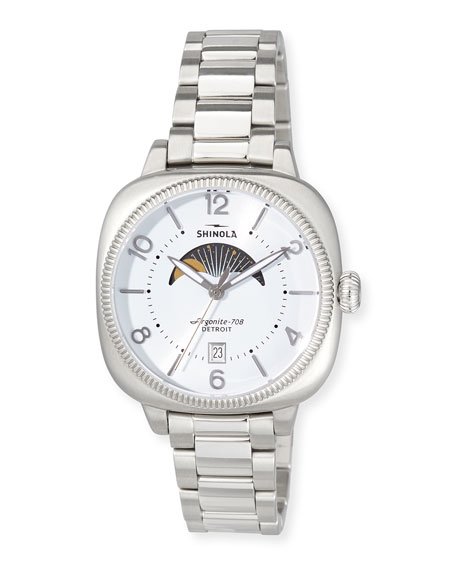 Shinola 36mm Women's Gomelsky Moon Phase Watch, White