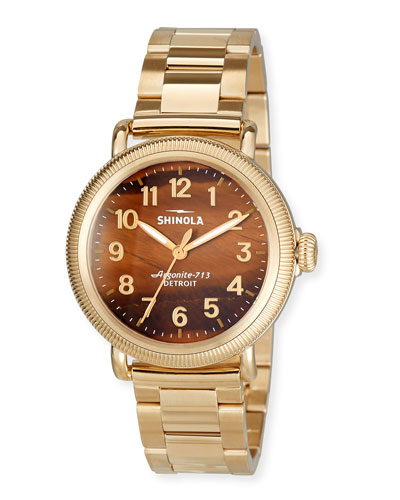38mm Women's Runwell Coin Edge Bracelet Watch w/ Tiger's Eye Dial