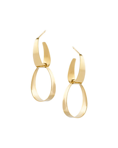 Small Gloss Link Earrings in 14K Gold