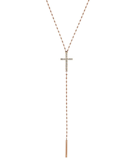 Lana Jewelry Crossary 14K Rose Gold Necklace with Diamonds 30Tgt